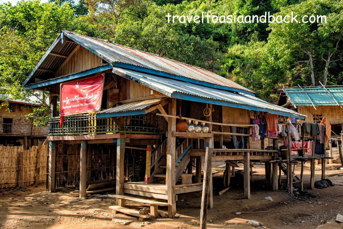 A typical house in Pan Paung Village, Chin State, Myanmar