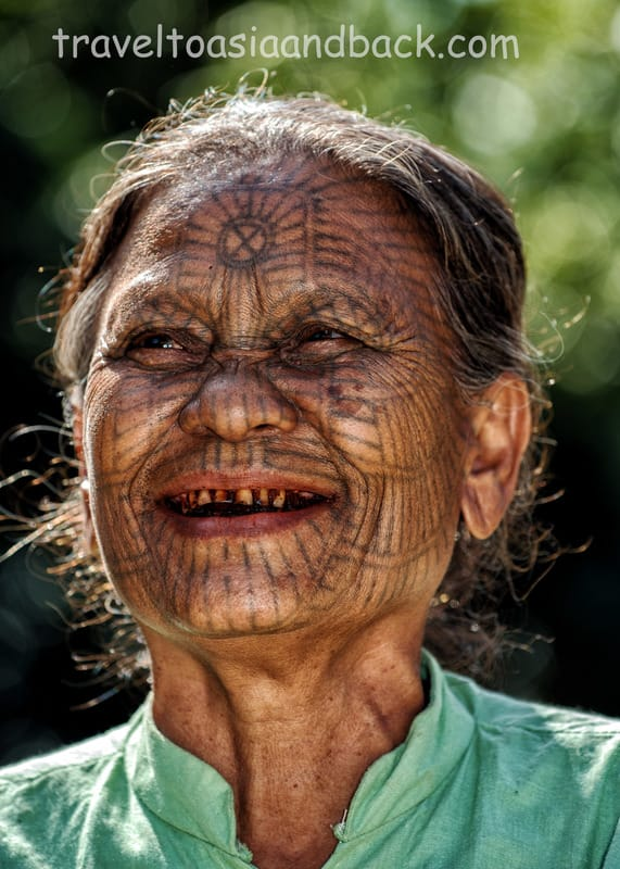 A tattooed lady, Chin State, Myanmar