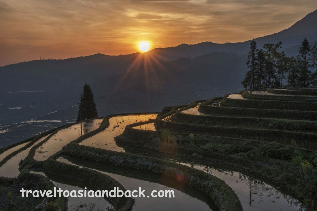 Sunrise over Duoyishu, Pugao Lao Village, Yuanyang County, Yunnan Province, China