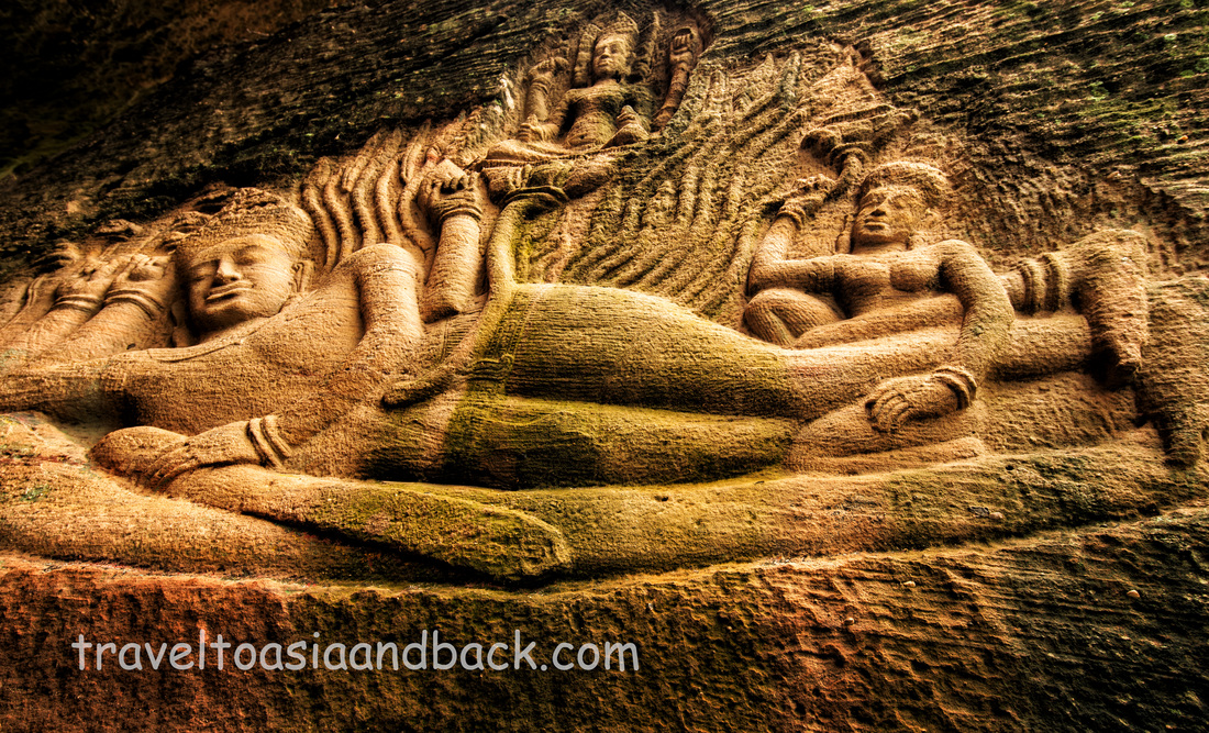 Vishnu reclines on Ananda with Sri Lakshmi at his feet, Peung Kom Nuo, Svay Leu, Cambodia
