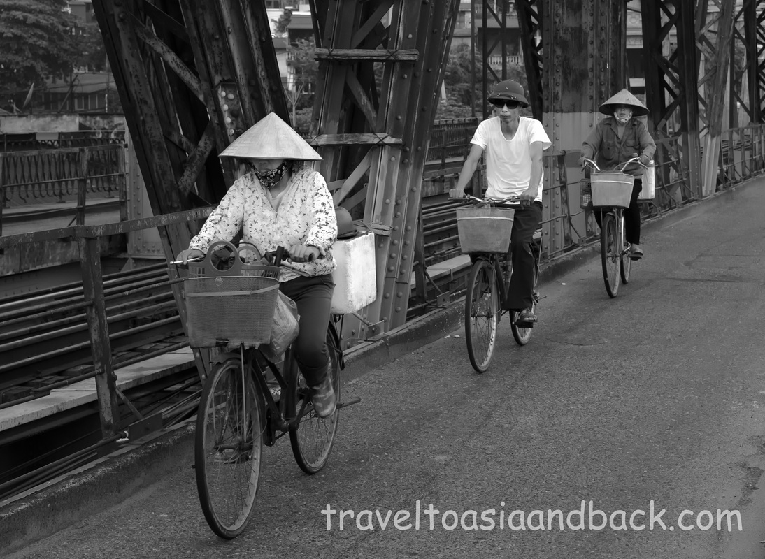 Morning traffic on Long Biên Bridge, Hanoi, Vietnam