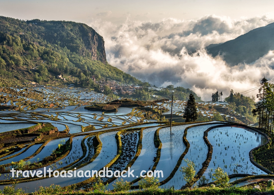 The Duoyishu rice terraces as seen from Pugao Lao Village, Yuanyang County, Yunnan Province, China